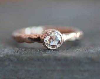Moissanite Engagement Ring - Solid 14K ROSE Gold Pebble Band - 5mm Rose Cut Gemstone  - Eco Metal - Diamond Alternative