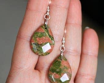 Fall Garden - Unakite Sterling Silver Earrings