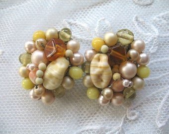 Vintage Cluster Earrings ~ Clip On ~ Pearl and Glass Beads ~ Yellow Tones