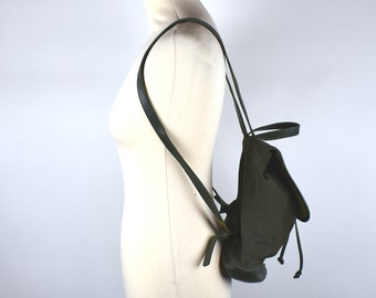 Slouchy L.L. Bean Forest Green Suede Leather Backpack || Leather Purse || Shoulder Bag