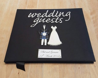 Black Scottish Wedding Guest Book
