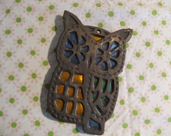 Retro Vintage cast iron OWL TRiVET, 'stained glass'  black