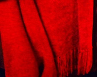 Red Chenille Scarf, Handwoven Hot Red Scarf, Vibrant Red Chenille Scarf