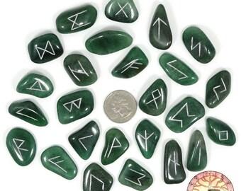 Reg Green Aventurine Rune Set Hand Carved Elder Futhark With Manual & Pouch