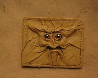 Grichels leather bi-fold wallet - sandy tan with burgundy fish eyes