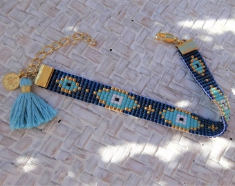 Dark Blue Beaded Loom Evil Eye Bracelet with Tassel - Blue Evil Eye Bracelet