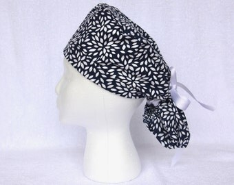 Surgical PonyTail Scrub Hats, Scrub Cap - Navy Blue with White