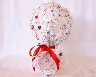 Surgical PonyTail Scrub Hat for Women - Scrub Cap - Stars on White - 4th of July, Forth of July Holiday Scrub Hat