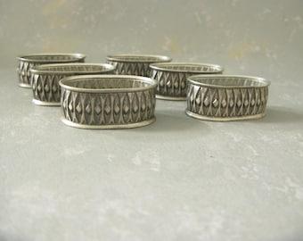 Vintage Scandinavian Pewter Napkin Rings, Midcentury, Modern, set