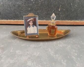 Vintage brass Vanity Mirror , brass tray, trinket tray, key tray, dish
