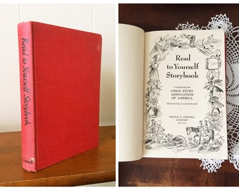 """Vintage Book Children's """"Read to Yourself Storybook"""" 50s Old Decor Illustrations"""