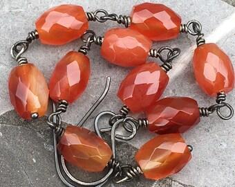 Long Oxidized Sterling Silver Wrapped Carnelian Orange Red Agate Earrings
