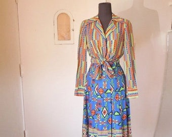 Vintage 70's Two Piece Skirt and Shirt Set, A Line Skirt, Tie Front Striped Shirt,  Ethnic Geometric Print, Blue, Small, Bust 36