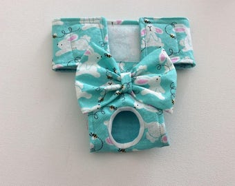 Female Dog Diaper - Britches - Dog Panty / Panties- Aqua Bunnies and Bees with Glitter - Available in all Sizes