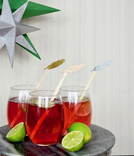 Glitter Feather Drink Stir Sticks - Choose from a range of colors!