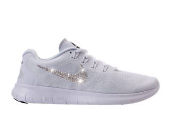 NEW Bling Nike Free RN 2017 Shoes with Swarovski Crystals * White * Bedazzled with Authentic Swarovski Crystal Rhinestones