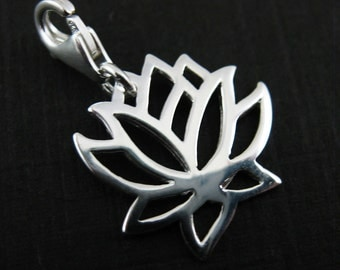 Sterling Silver Charms - Add on Charm - Charm with Clasp - Silver Lotus Blossom Charm -Lotus Flower - Bracelet Charm (15mm-1 pc) Sku: 291222
