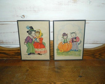 Vintage Framed Mother Goose Prints - Georgie Porgie & Peter, Peter Pumpkin Eater - GOES Litho - 1940's