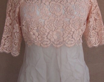 REDUCED PRICE - Vintage 40s -Lace and Silk Crepe Short Sleeves Top