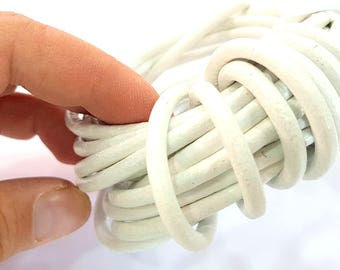 White Leather Cord 1mt-3.3 ft (5mm) Round Leather Lacing G7597