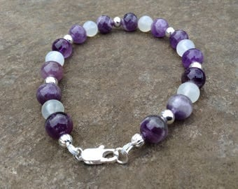 Purple Calm bracelet - Amethyst, Moonstone, and sterling silver beads - calming, stress relief