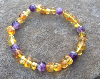 Stretchy Baltic Amber & Amethyst stretchy bracelet - pain relief, calm anxiety, grounding, reduce inflammation