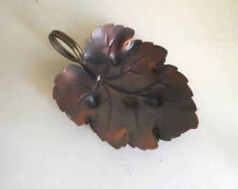 Copper Trinket Dish Brass Leaf Dish Mid Century Modern Dish Boho Decor Coppercraft Guild