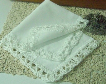 White Lace Handkerchief, Hanky, Hankie, Ladies, Hand Crochet, Baptism, Wedding, Bridal, First Communion, Monogrammed, Custom, Personalized