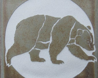 4x4 Grizzly Bear - Etched Porcelain Tile - Coaster - SRA