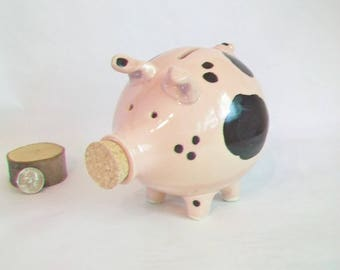 Reserved for Bonnie -- Piggy Bank - Pink with Lovely Black Spots - Handmade on the Potters Wheel - Charming Gift