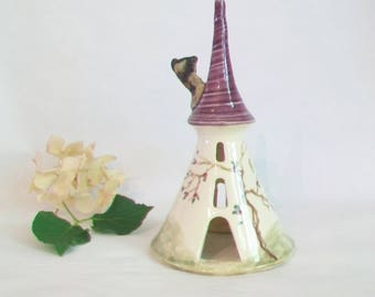 Fairy Tower/Night Light - Plum/Purple Roof - Rapunzels Tower - Wheel Thrown - Hand Painted Rose Vine - Ready to Ship Now - Actual Tower