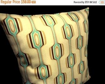 "FAB SALE Modern Pillow Cover - Aqua on Cream Geometric - Chris Stone Home Dec Fabric -- for 18"" x 18"" insert"