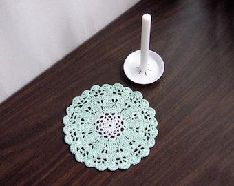 Small Crochet Doily, Scallop Shell Design, Mint Green Decor, Cottage Chic Table Accessory