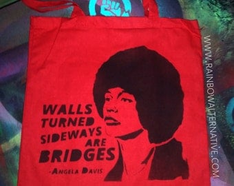 Angela Davis quote Feminist art canvas tote bag feminist feminism stencil spray paint diy handmade  Rainbow Alternative power to the people