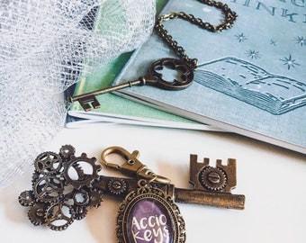 Bronze Accio Keys Keyring Keychain Harry Potter Gift Idea Bookish