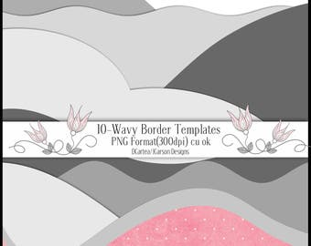 borders templates, wavy borders, wavy templates, paper templates, cu ok, scrapbooking templates, download, wavy clip art, shapes templates
