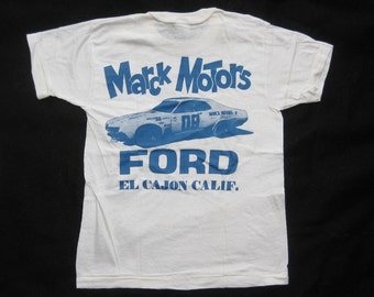 Vintage 60s NOS Kids Size Marck Motors FORD El Cajon San Diego Racing Souvenir Cotton Jersey T-Shirt