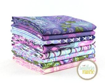 "Eden - Amethyst - Fat Quarter  Bundle - 8 - 18""x21"" Cuts - Tula Pink - Free Spirit Quilt Fabric"