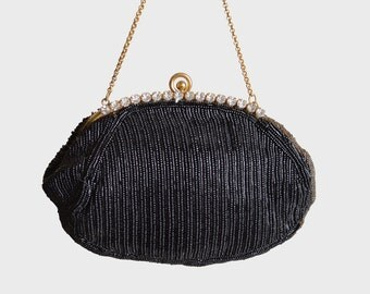 Vintage 60s Silk BEADED Rhinestone PURSE / 1960s Beaded Kiss Lock Evening Bag