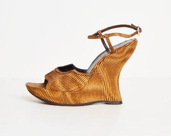 Vintage 90s Tie-Dye Striped PRADA Platform Wedges / Brown Tan Chunky Heel Platform Sandals 9