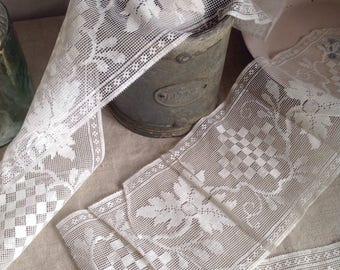 Antique Laces, Vintage Fillet Lace White Trim, 4pc Sewing Supplies Vintage Wedding Dolls & Bears Home Furnishings