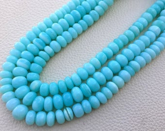 Brand New, aaa Quality PERUVIAN Blue OPAL Smooth Rondells, 9-10mm Size Rondells,Full 10 Inch Long Strand Great Item