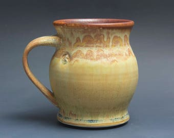Handmade pottery coffee mug tea cup 16 oz yellow amber tea cup 3923