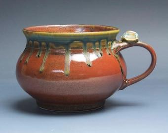 Handmade pottery soup mug ceramic chili mug cereal ice cream bowl iron red 20 oz 3969