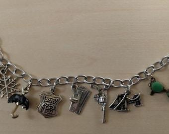 Gotham themed charm bracelet