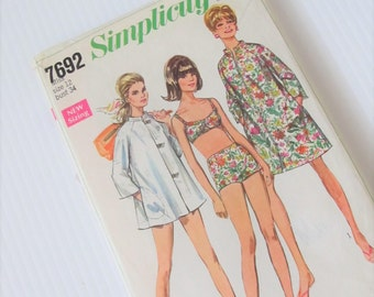 Vintage 1968 Simplicity 7692 Sewing Pattern Misses' Coat Dress or Beach Coat and Two-Piece Bathing Suit Size 12 Bust 34