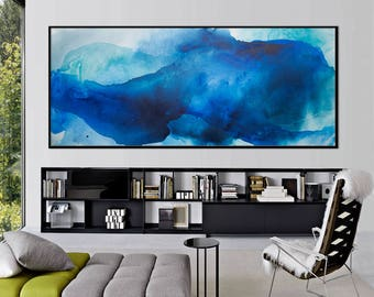 Large Abstract seascape giclee print on paper canvas from painting watercolor horizontal 'out of the blue' 646