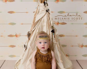 Tribal Darling  -- soft suede inspired indian tassle fringe gold feather headband bow