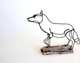 Fox Wire Sculpture, Wire Art, Folk Wire Art, 523394805