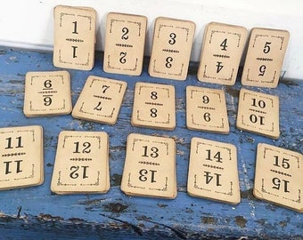 Vintage Numbered Cards 1 to 15 Antique Game Flinch Cards Wedding Table Numbers 15 Cards